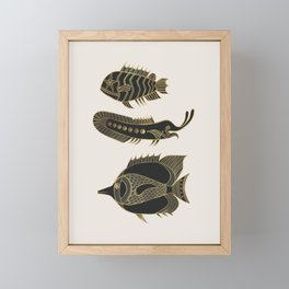Fantastical Fish 1 - Black and Gold Framed Mini Art Print