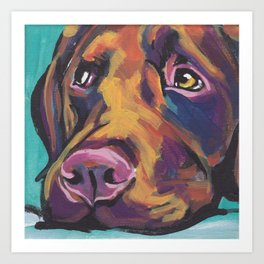 Fun Chocolate Lab Dog bright colorful Pop Art Labrador Art Print