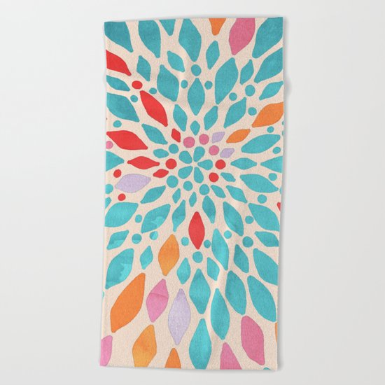 Radiant Dahlia - teal, orange, coral, pink watercolor pattern Beach Towel