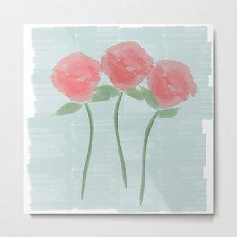 Red Watercolor Roses Metal Print