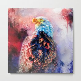 Jazzy Bald Eagle Colorful Bird Art by Jai Johnson Metal Print