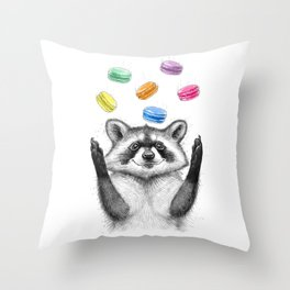 raccoon with cookies Throw Pillow