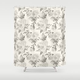 Roses in Grey and Beige Shower Curtain