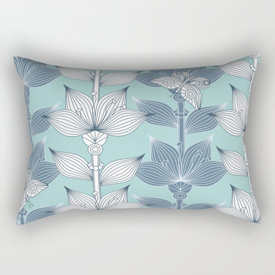 WHITE AND BLUE FLOWERS Rectangular Pillow