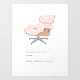 Midcentury Eames Lounge Chair - Blush Pink Art Print with Quote Art Print