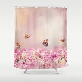 Gulf Fritillary butterflies feed in a rose garden Shower Curtain