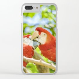 Ecuadorian Parrots Kissing at Zoo, Guayaquil, Ecuador Clear iPhone Case
