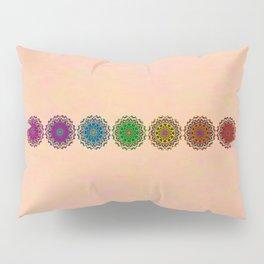 Colorful Rainbow Chakra Mandala , Yoga & Meditation Seven Sacred Mandalas Flower Painting Pillow Sham