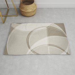 Where the Circles and Semi-Circles Meet in Taupe Rug