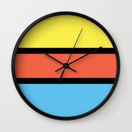 Diversions #1 in Yellow, Orange & Powder Blue Wall Clock