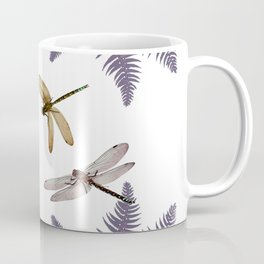 DRAGONFLIES & PURPLE-BROWN WOODLAND FERNS  ABSTRACT Coffee Mug