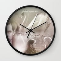 captain swan Wall Clocks featuring Captain Swan by Daniela Vasco