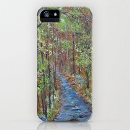 Deep in the Woods, Impressionism Landscape, Rustic Earth Tone Colors iPhone Case