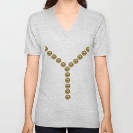 gold clips vintage fashion Unisex V-Neck