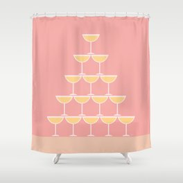 Pink Champagne Tower Shower Curtain
