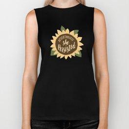 nevertheless she persisted sunflower Biker Tank