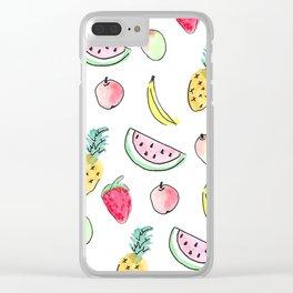 tutti fruitti watercolour pattern Clear iPhone Case