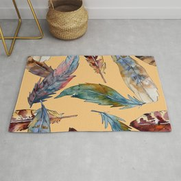 Feather Pattern on Brown 01 Rug