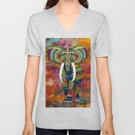 Rainbow Elephant Red Background Unisex V-Neck