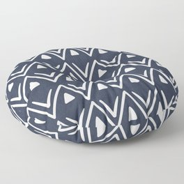 Etched Zig Zag Pattern in Navy Blue Floor Pillow
