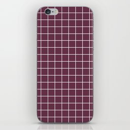 Wine dregs - violet color - White Lines Grid Pattern iPhone Skin