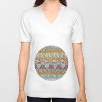 knitting V-neck T-shirts featuring KNITTING #3 by NADEZDA FAVA