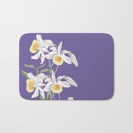 Floral fling in ultra violet Bath Mat