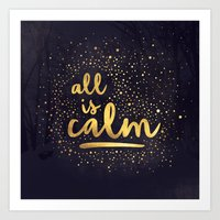 All is Calm - Navy and Gold Art Print