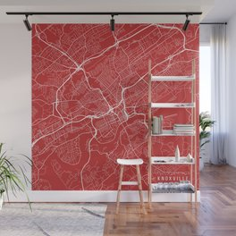 Knoxville Map, USA - Red Wall Mural