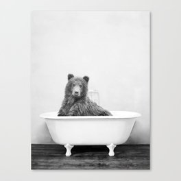 Bear in a Vintage Bathtub (bw) Canvas Print