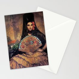 Woman of Mexico with fan portrait painting by Jesus Helguera Stationery Cards