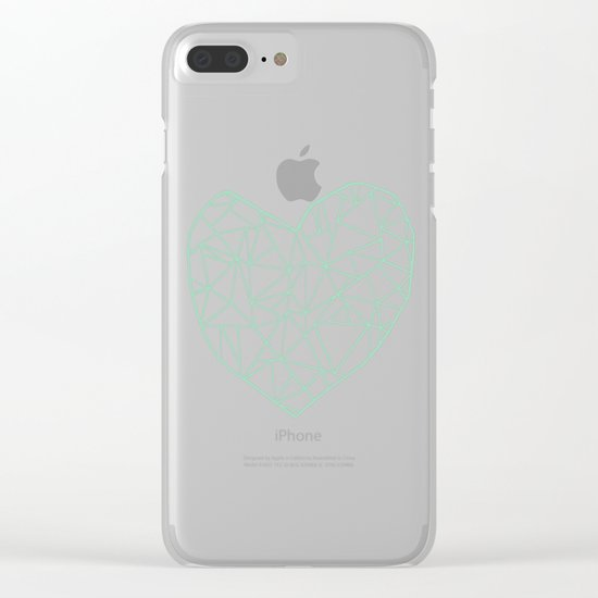 Abstract Heart Mint Clear iPhone Case