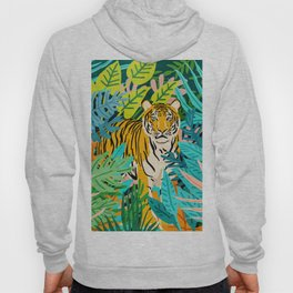 Only 3890 Tigers Left, Wildlife Vibrant Tiger Painting, Jungle Nature Colorful Illustration Hoody