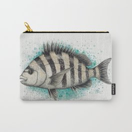 """""""Sheepshead Splash"""" by Amber Marine ~ Watercolor Fish Painting (Copyright 2016) Carry-All Pouch"""