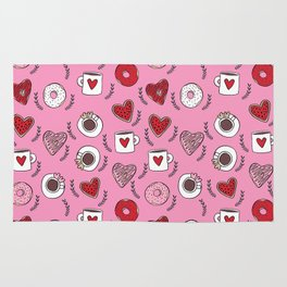 Valentines donuts and coffee cute gifts for love valentine andrea lauren Rug