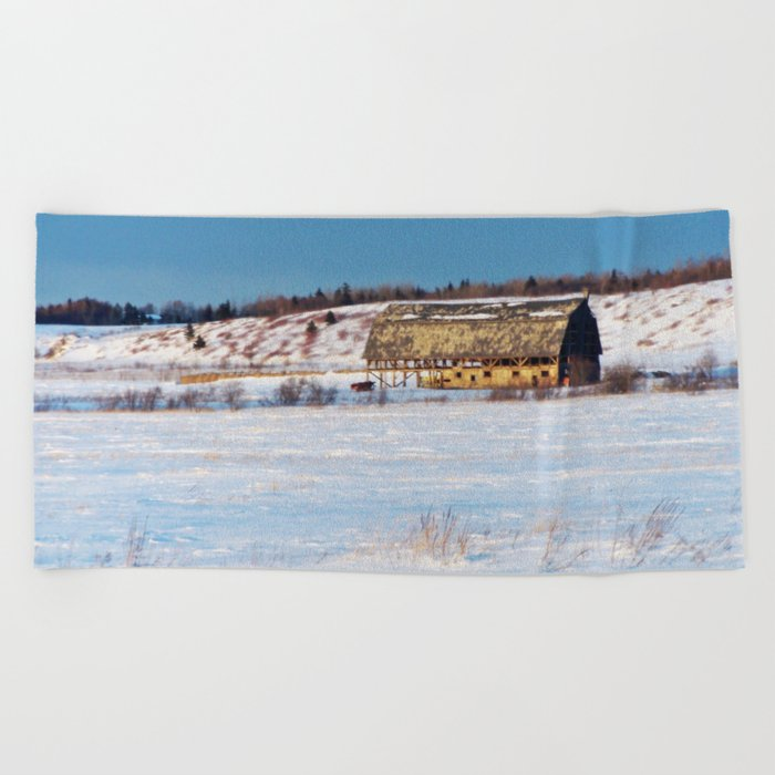 Barn gets a little glow from the Sun as it sits, waiting to be torn apart. Beach Towel