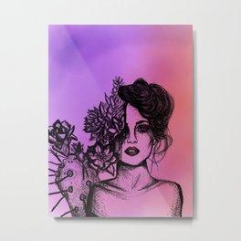 Sunset Succulent Babe | Sunset | Succulents | Cacti | Cactus | Succulent | Portrait | Pink | Orange Metal Print