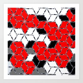 red white black grey cubes geometric 3d pattern Art Print