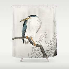 Ohara Koson - Quack on erratic branch Shower Curtain