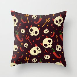 Skulls Hot Chili Peppers Hell Pattern Throw Pillow