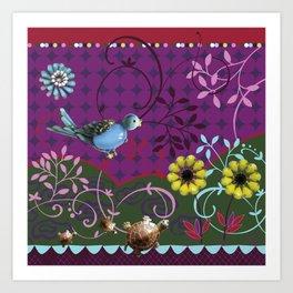 Song Bird - plum Art Print