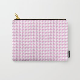 Preppy Patterns™ - Modern Houndstooth - white plus powder pink Carry-All Pouch