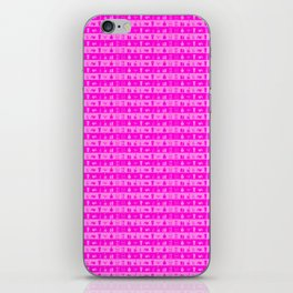 Bright Neon Pink Womens Makeup and Beauty Stripes iPhone Skin