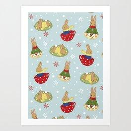 Tea Time in the Snow Art Print