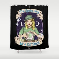 ahs Shower Curtains featuring Mystic Miss Maggie Esmerelda (color) by marziiporn