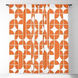 Mid Century Modern Geometric Pattern Orange Blackout Curtain