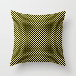 Black and Blazing Yellow Polka Dots Throw Pillow
