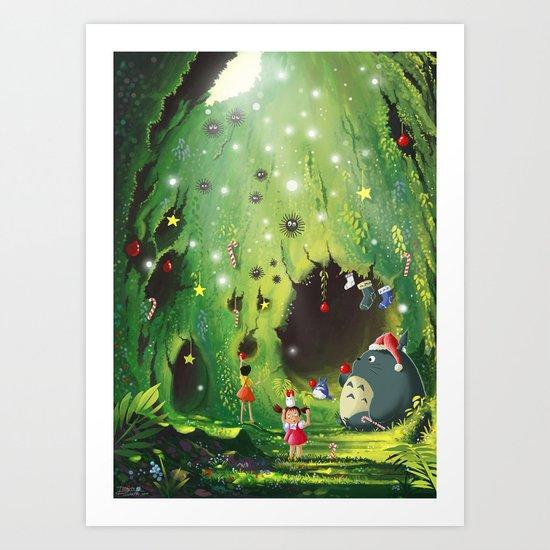 Totoro Christmas Art Print