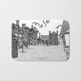 Victorian Frankwell Under Water, black and white Bath Mat