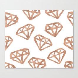 Rose gold diamond print Canvas Print